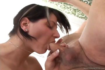 Porno Video of College Creampie Brunette Sucks And Fucks Old Grandpa's Cock