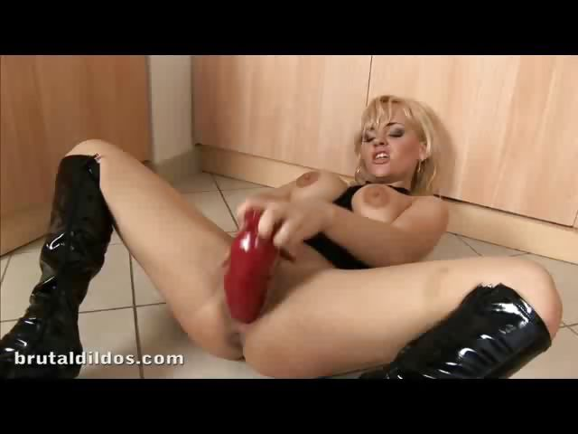 Porn Tube of Brithney Taking Two Big Dildos Deep