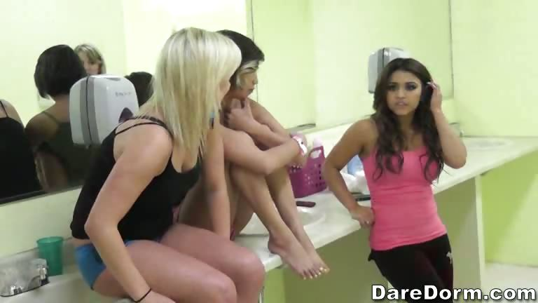 Porn Tube of A Group Of Hot Chicks Act Silly In The Bathroom.