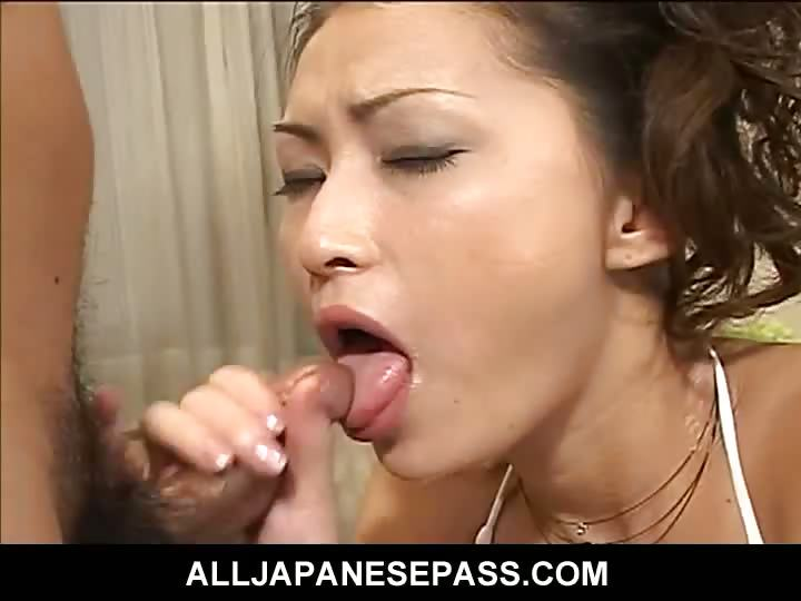 Porno Video of Japanese Goddess In White On Her Knees Sucking Dick
