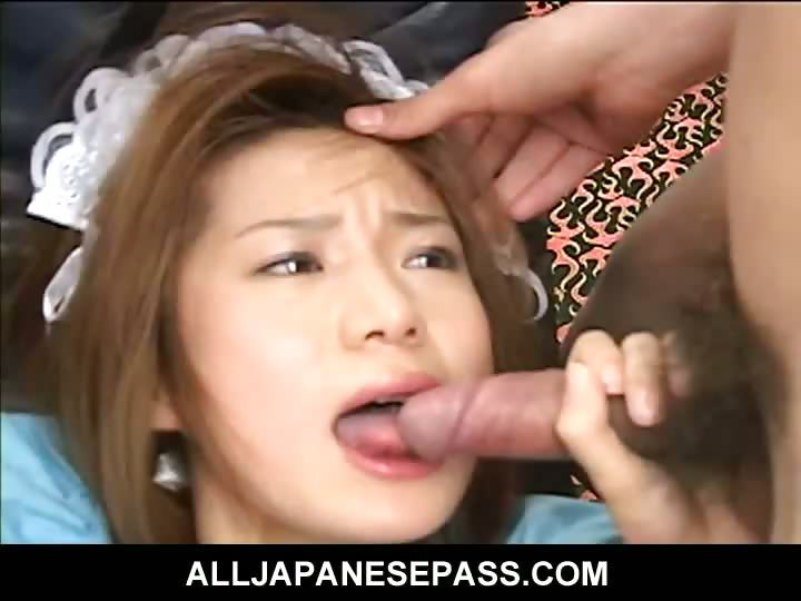 Porn Tube of Sexy Japanese Maid In Ripped Pantyhose Is Fingered Before Sucking Cock