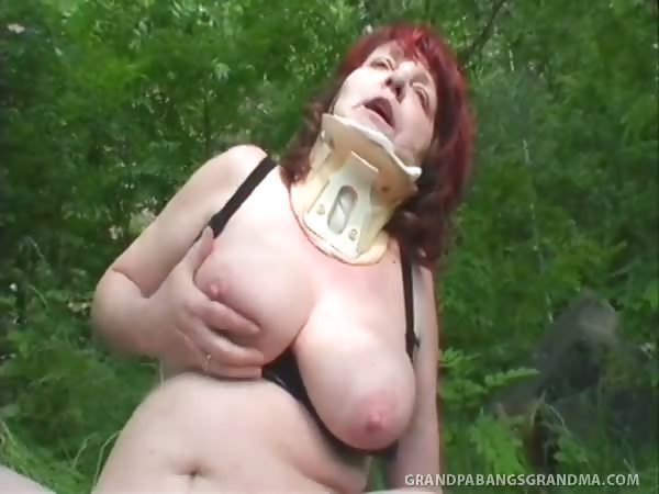 Porno Video of Incredible Huge Natural Tits On Busty Redhead Granny Ivana