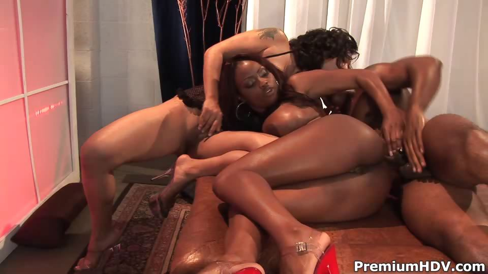 Porno Video of Busty Babes Interracial 3some