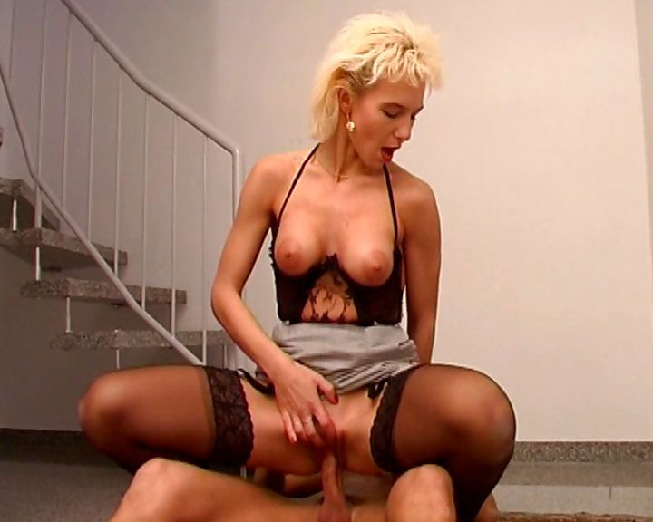 Porno Video of Horny Blonde Office Manager Plays With Her Pussy And Fucks A Guy In The Stair Well