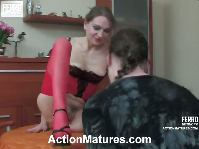 Porno Video of Salacious Mature Babe In Red Stockings Satisfying Her Hunger For Young Cock