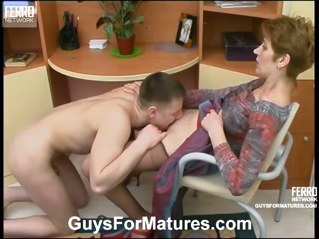 Porno Video of Kinky Mom Lowers Her Hose A Little To Free Her Muff Aching For Hard Dicking