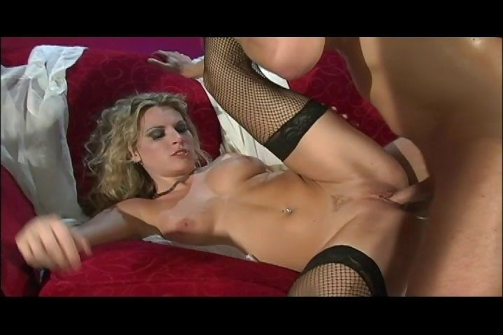 Porn Tube of Skinny Blonde With Small Tits Gets Her Holes Fucked On A Red Sofa