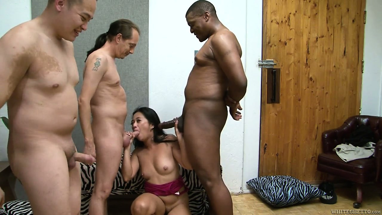 Porno Video of Bushy Asian Milf Gets Plowed In A Hardcore Interracial Gangbang