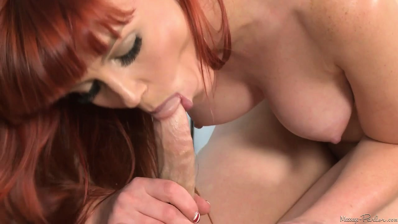 Porno Video of Redhead Masseuse With Nice Tits Rubs And Then Eats His Boner