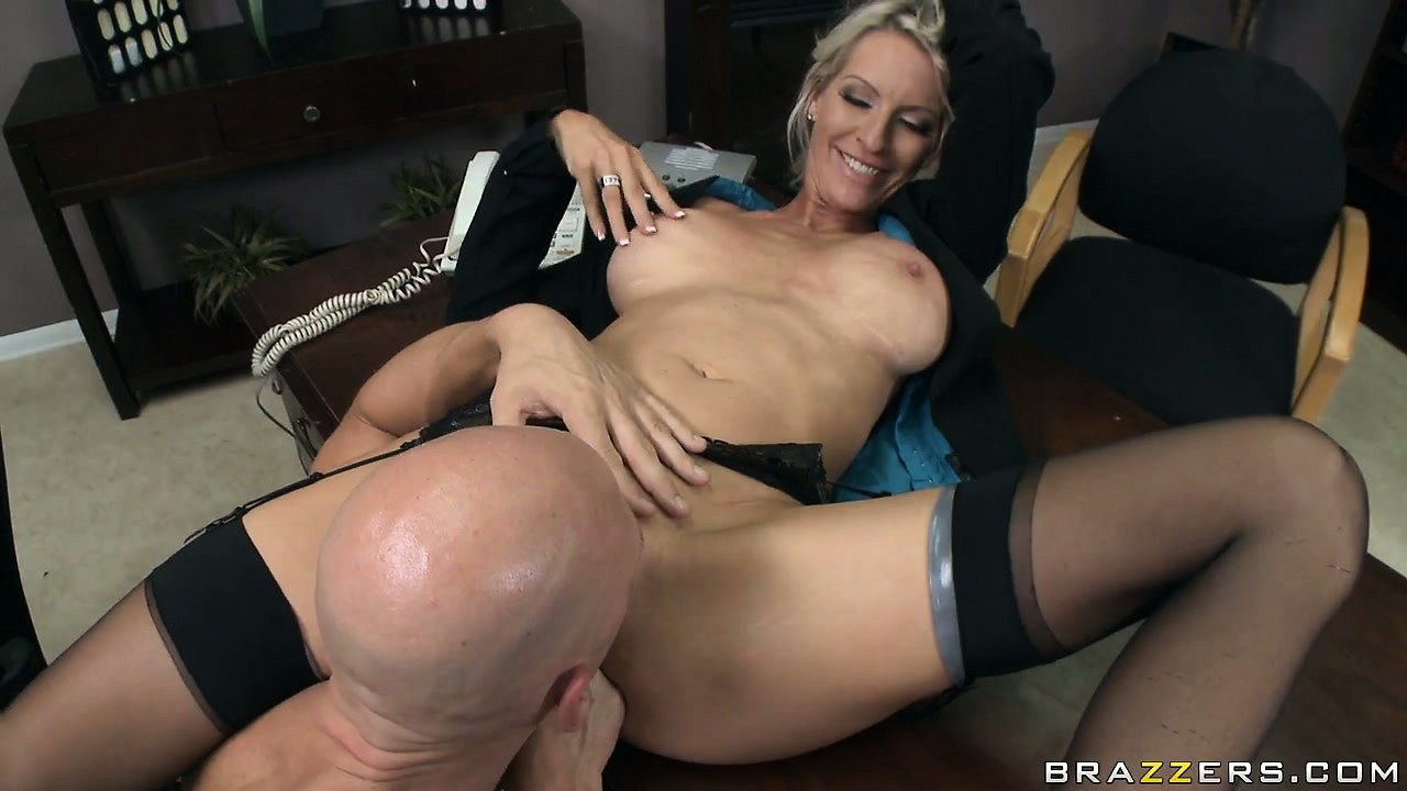 Porn Tube of Slutty Blonde Milf Secretary Plays With Her Perky Tits While Her Licks Her