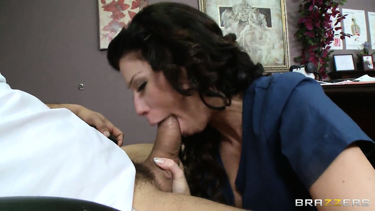 Porno Video of Gorgeous Brunette With Big Tits Slides The Intern's Cock Down Her Throat