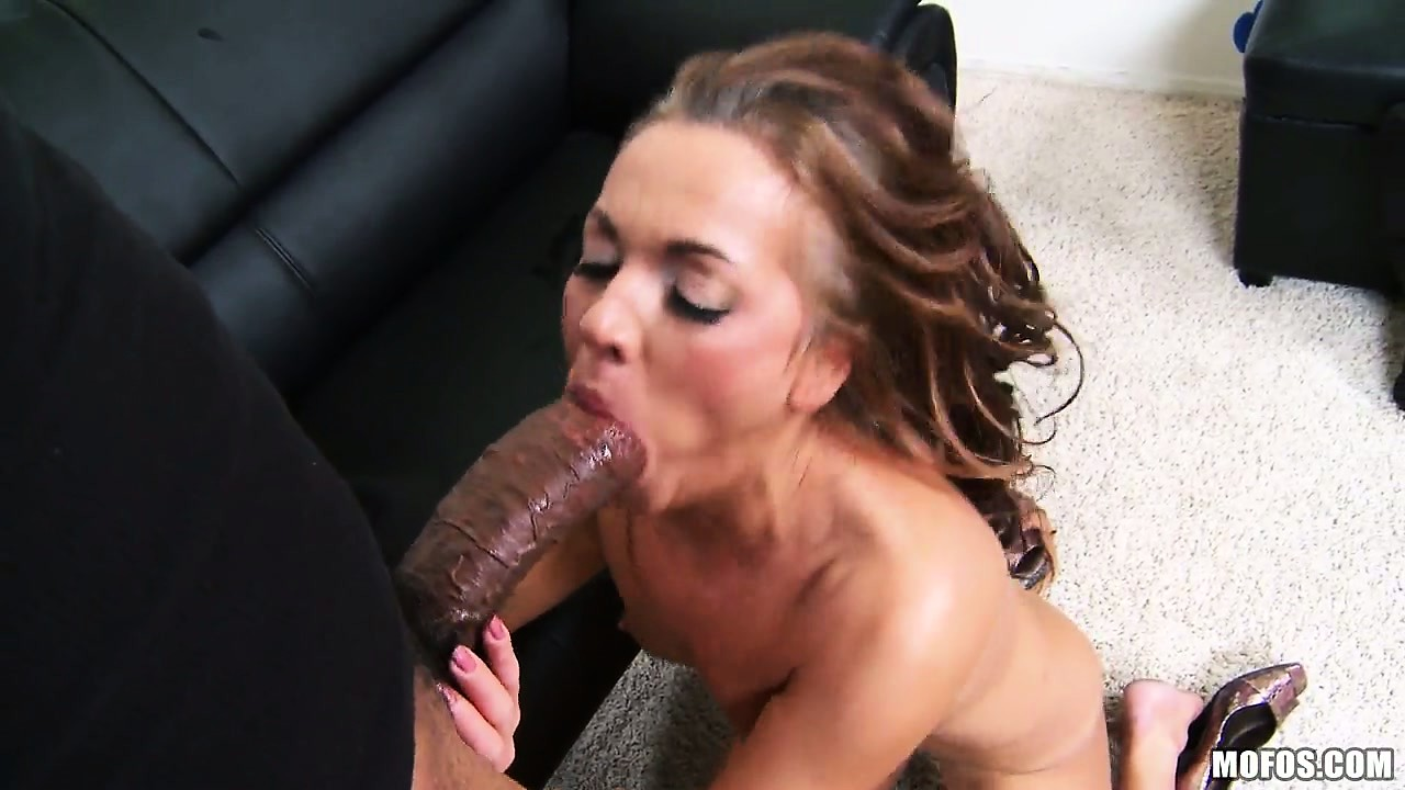 Porno Video of Sexy Brunette With Lovely Tits Slides A Huge Black Cock Down Her Throat