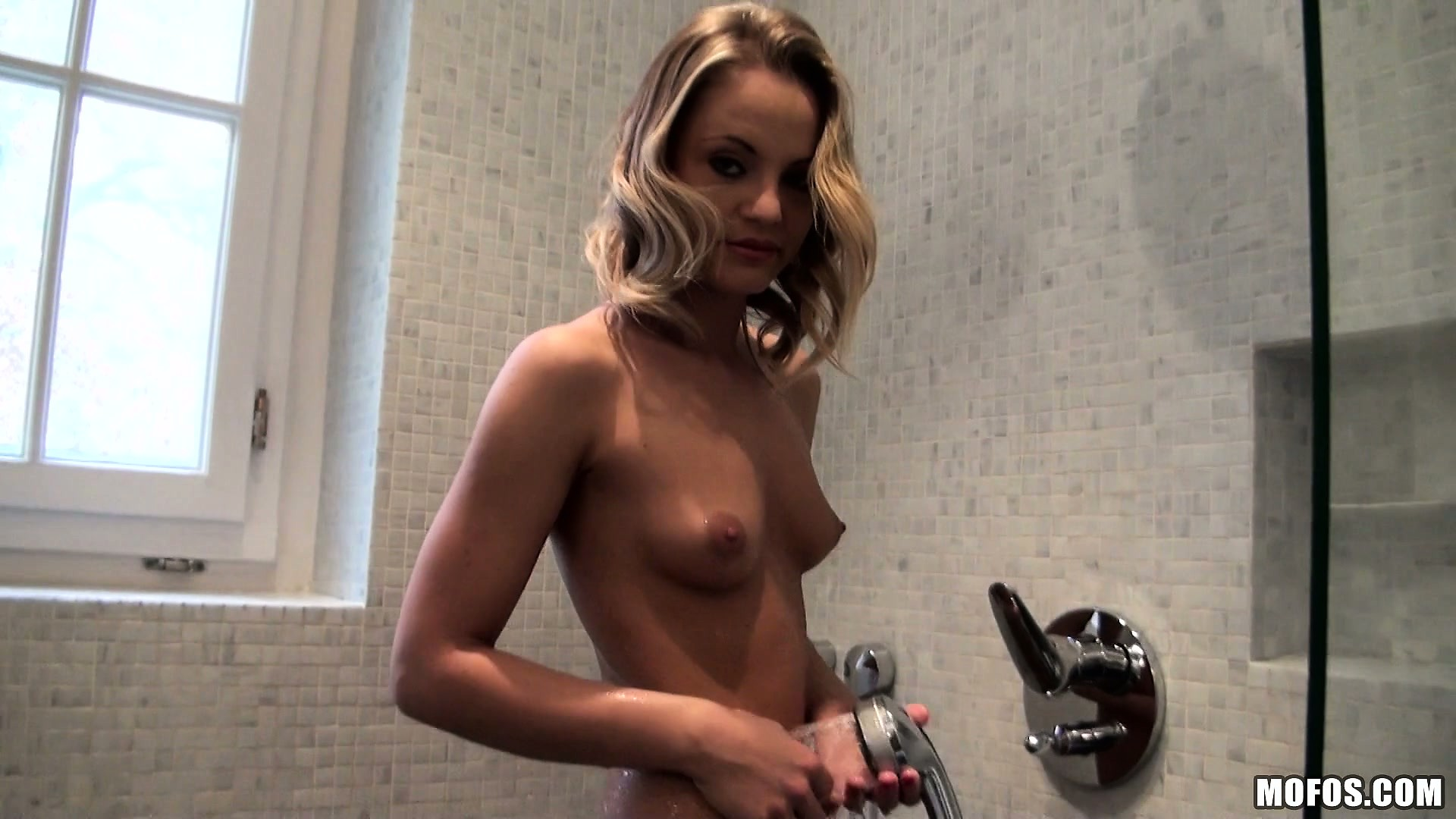 Porn Tube of Marvelous Blonde Displays Her Perfect Ass And Perky Tits In The Shower