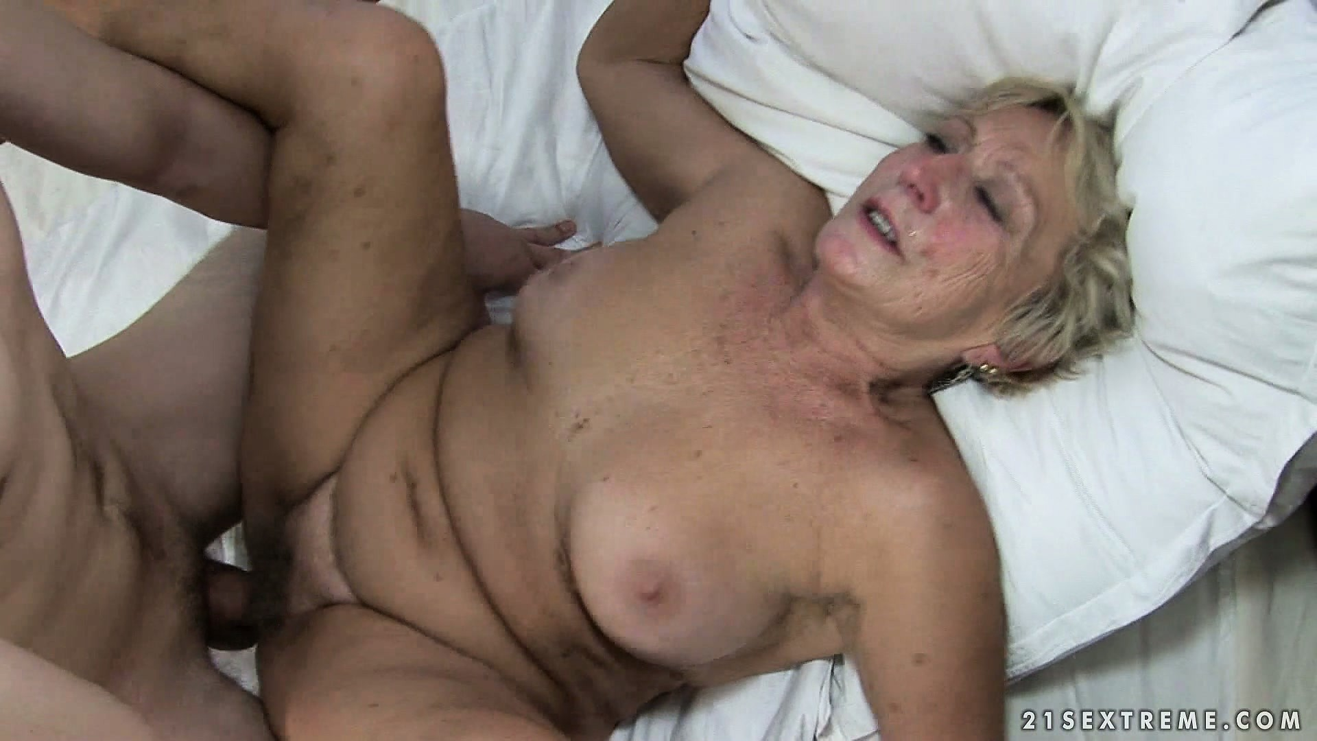 Porno Video of Horny Young Man Pounds Her Granny Bush And Cums On Her Wrinkly Face