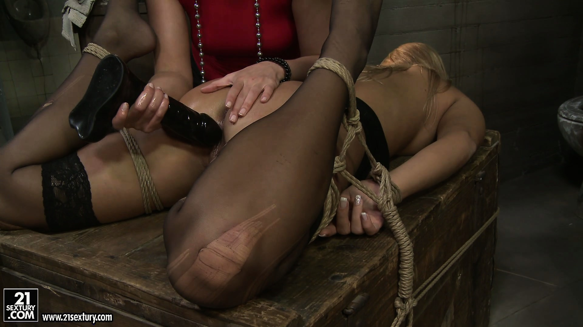 Porn Tube of Kathia Drills The Blonde's Twat With A Black Dildo And Moans Of Pleasure Fill The Room