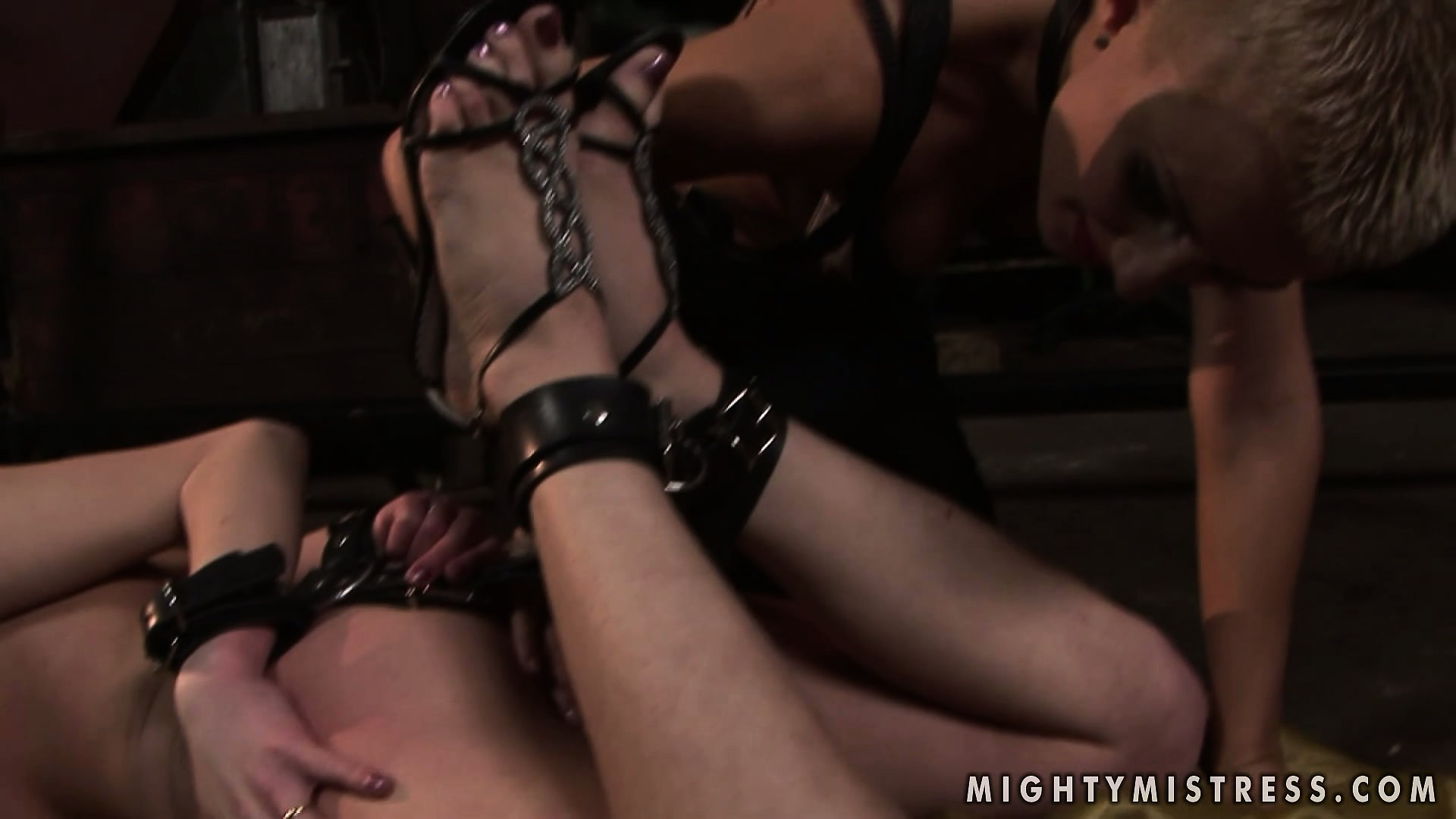 Porn Tube of Mistress Comes Over And Starts Rubbing And Torturing Her Tied Up