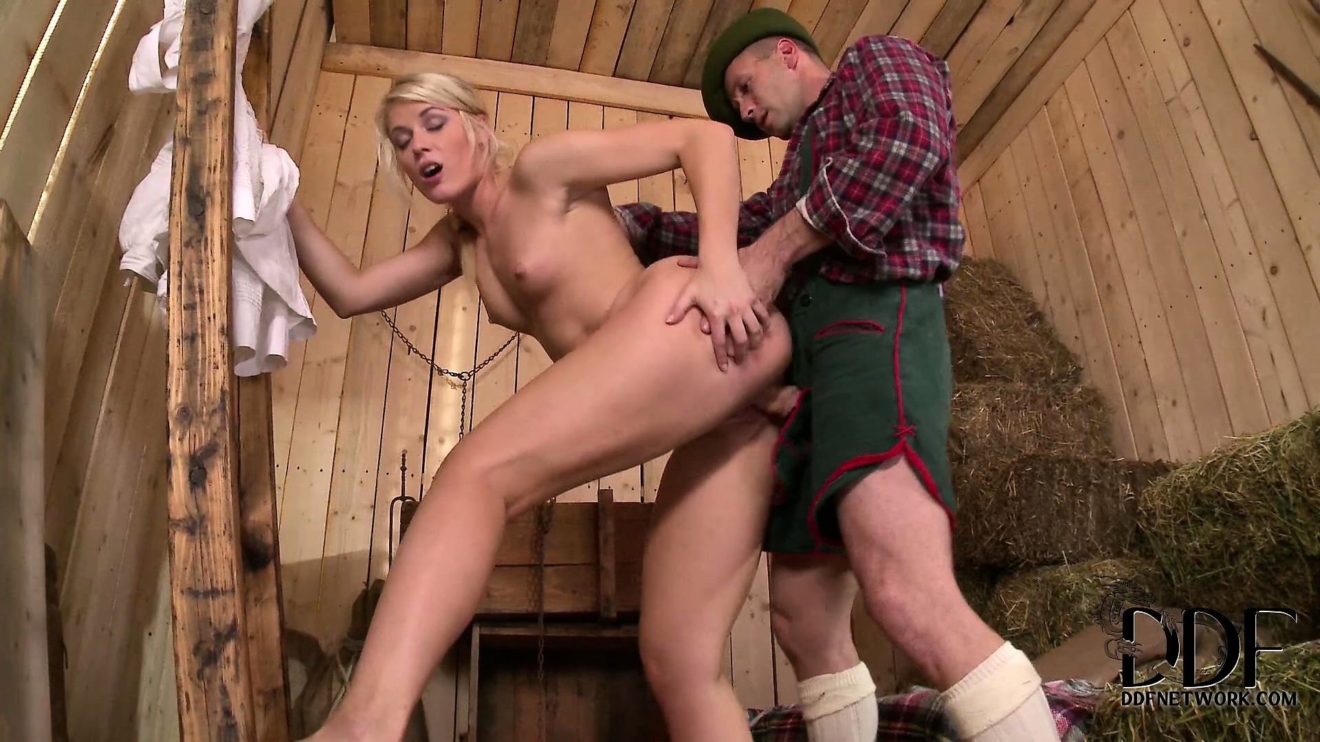 Sex Movie of The Blonde Farm Babe Rides That Cock With Desire And Loves To Get Fucked Doggy Style