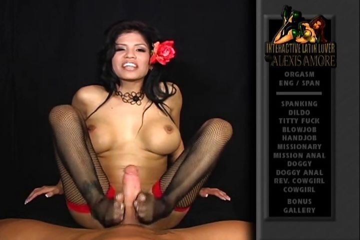 Porn Tube of Latina Alexis Amore Gives A Sexy Footjob In Nylon Stockings