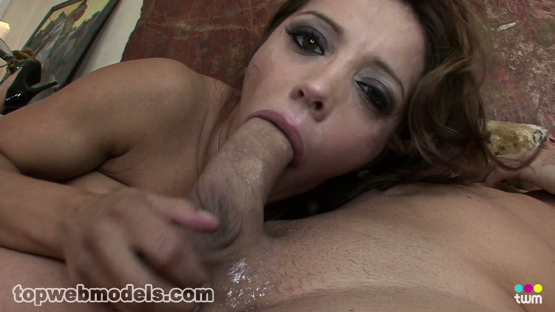 Porno Video of Francesca Looks Up At Him While She Is Giving Him Delight With Her Mouth
