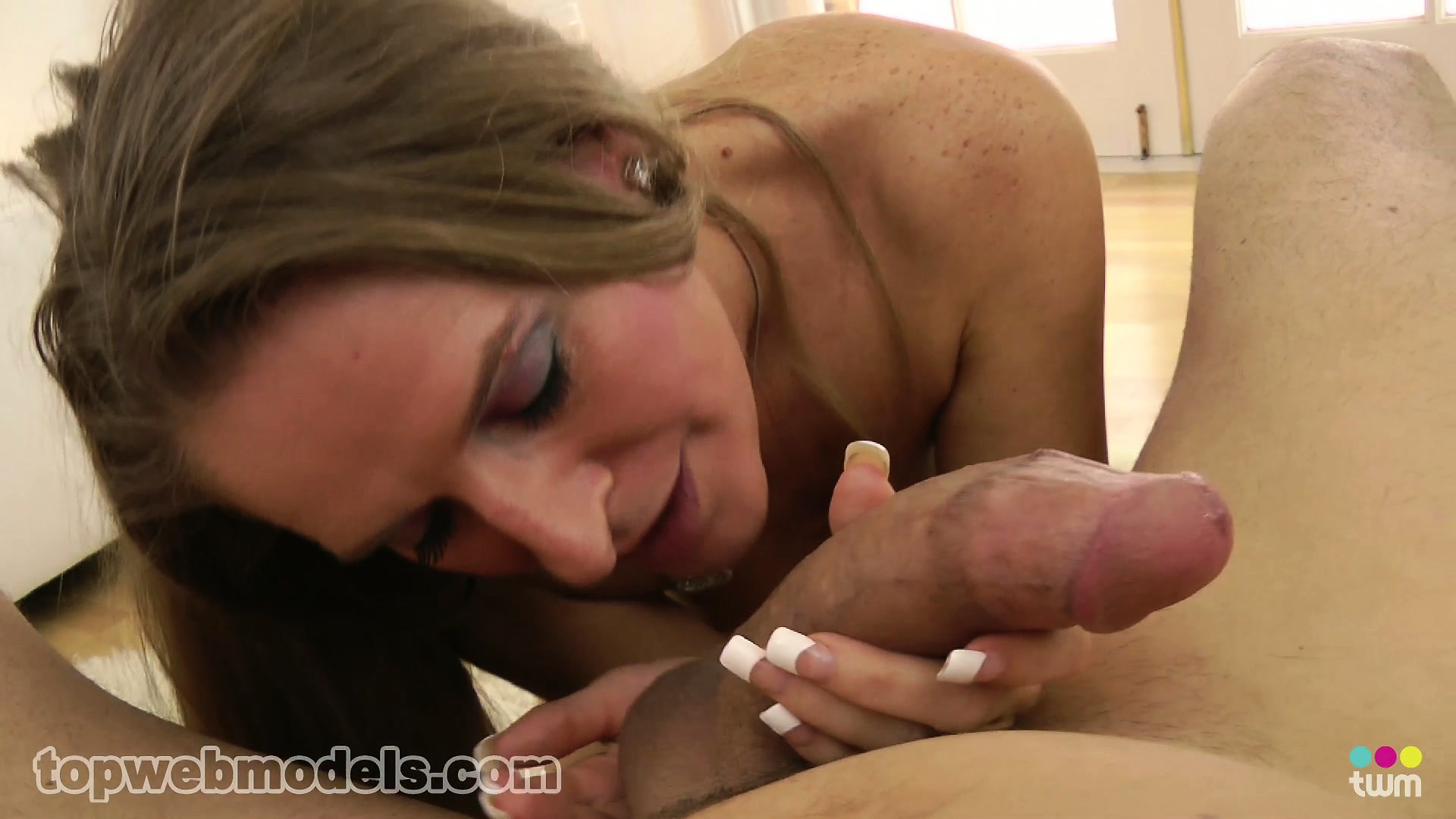 Porno Video of Sara James Makes That Shaft Burst With Pleasure In Her Mouth And She Swallows It All