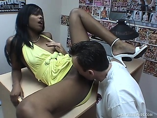 cute black girl in a sexy yellow dress nadia sucks a white cock and gets fucked deep