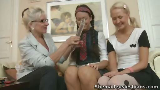 Porn Tube of Two Cute Ladies Came To An Aged Woman Who Taught Them How To Lick Pussies And Fuck With Sex Toys.