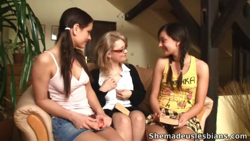 Porn Tube of Lustful Teacher Wanted To See Some Lesbian Action. She Told Audrey To Kiss Lorraine And Girls Soon Were Petting Each Other.