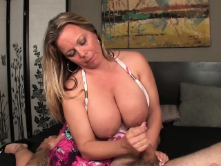 Insatiable Blonde Mother With Huge Breasts Enjoys A Cock With Her Hands