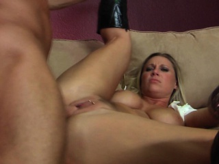 Horny Blonde With Big Tits Gets Her Hairless Pussy Fucked On The Sofa