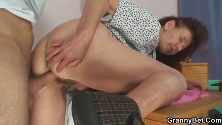 Porno Video of Granny Insists On Riding His Young Cock