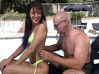 Tasty Young Brunette With Small Boobies Gets Fucked By A Bald Man