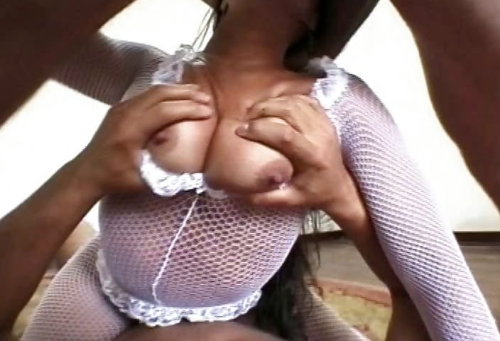 Porno Video of Brazilian Sex Addict Has A Threesome In Her White Fishnets