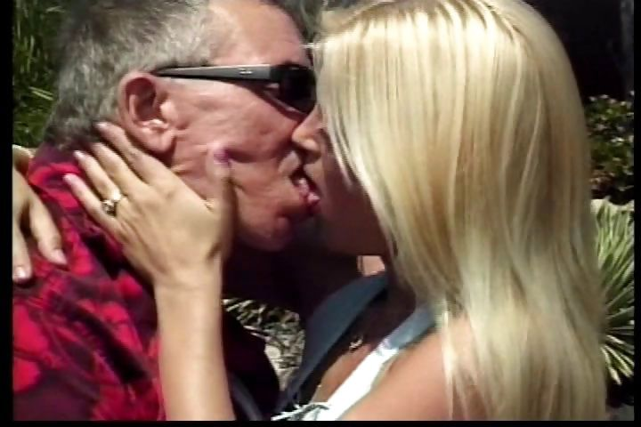 Porno Video of Old Man Gets Lucky With A Young Blonde Bimbo Who He Fucks On The Deck Of His House