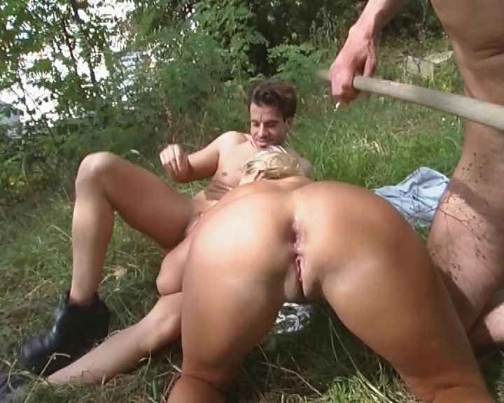 Porno Video of German Girl Gets Horny And Fucks Two Gardeners In The Open