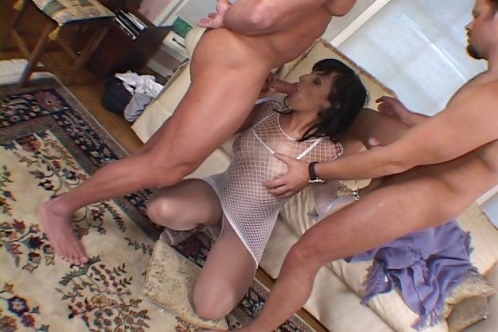 Porn Tube of Milf In Crotchless Bodystocking And Mesh Dress Gets Shared By Two Men