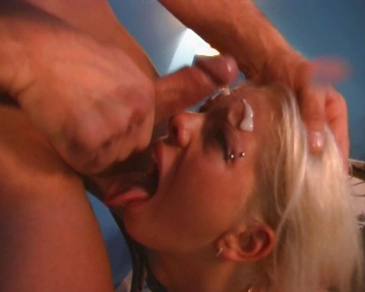 Porn Tube of Bitch In Leather Stockings Sucks A Prick And Gets A Facial