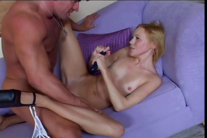 Sex Movie of Barely Legal Skinny Blondie Letting Huge Anaconda Cock Up Her Crack